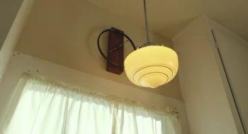 Die Lampe Flackert Larry Blickt In Das Wohnzimmer